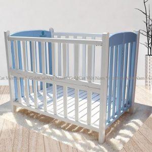 Giường cũi gỗ quế trắng xanh